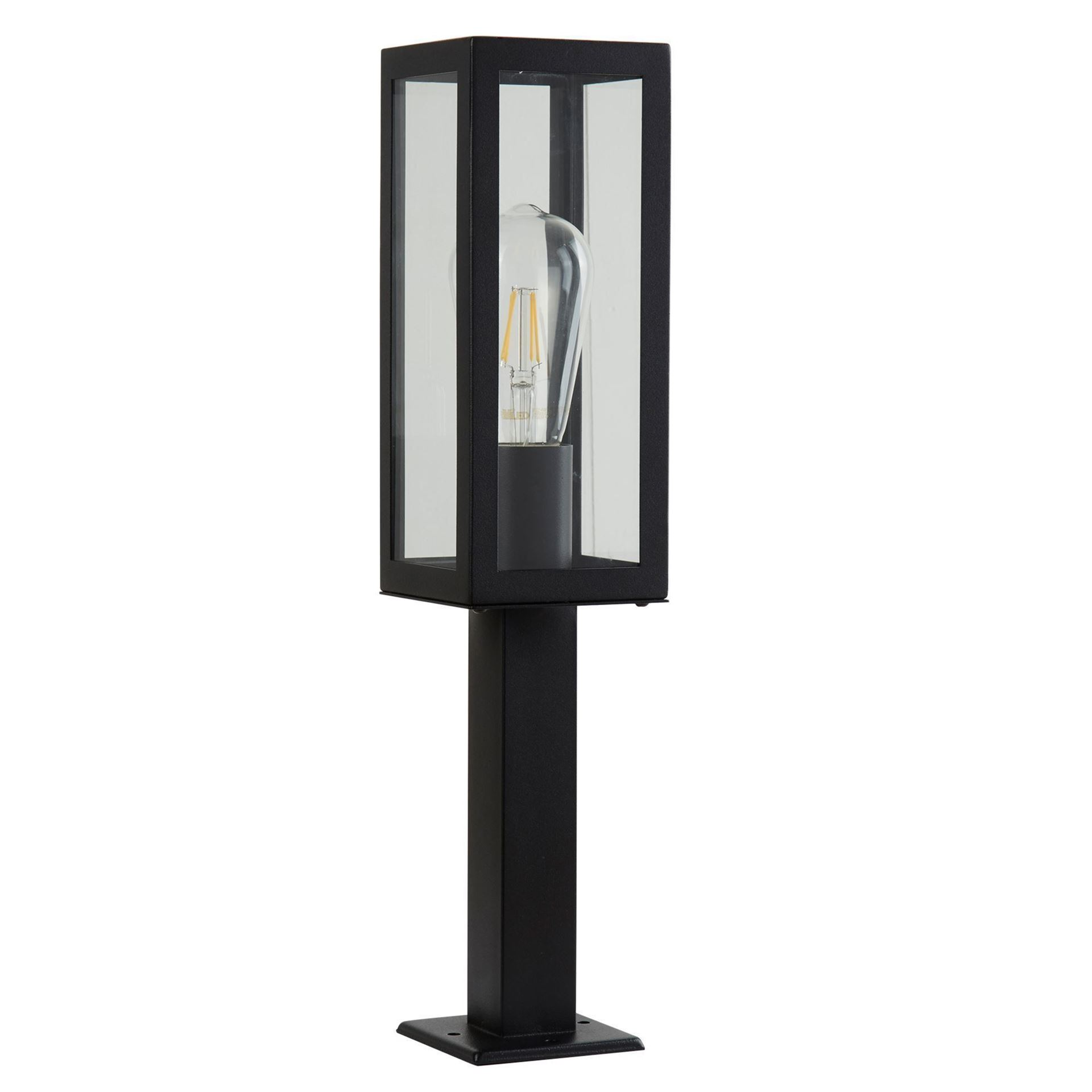 ALUMINIUM, BLACK OUTDOOR 1 LIGHT RECTANGLE HEAD POST LAMP, GLASS PANELS 6441-450BK
