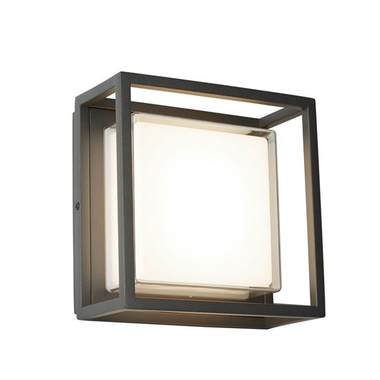 ALUMINIUM OUTDOOR LED SQUARE, DARK GREY, WHITE/CLEAR DIFFUSER WALL FLUSH 3812GY