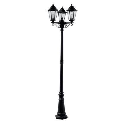 ALEX IP44 BLACK 3 LIGHT OUTDOOR DIE CAST ALUMINIUM POST LAMP WITH CLEAR GLASS 82540BK