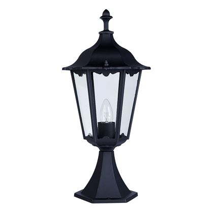 ALEX IP44 BLACK DIE CAST ALUMINIUM OUTDOOR POST LAMP CLEAR GLASS PANELS 82503BK
