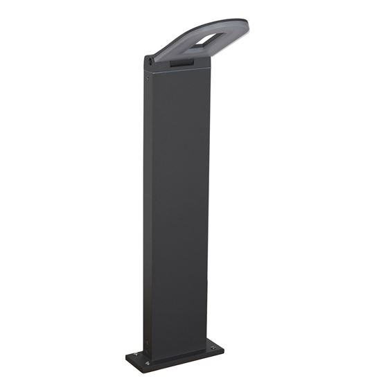 ALUMINIUM MANHATTAN IP44 GREY LED OUTDOOR BOLLARD LIGHT, FROSTED POLYCARBONATE DIFFUSER 0583-500GY
