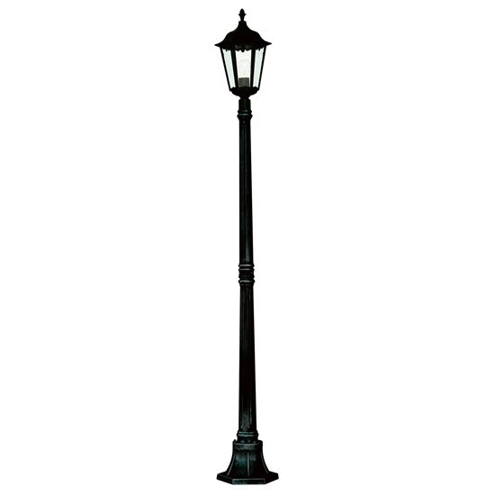 ALEX IP44 BLACK DIE CAST ALUMINIUM OUTDOOR POST LAMP WITH CLEAR GLASS PANELS 82508BK