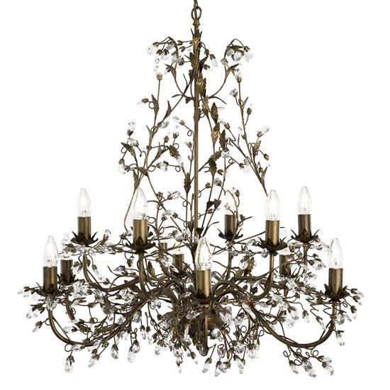 ALMANDITE BROWN GOLD FINISH 12 LIGHT CHANDELIER WITH CRYSTAL DRESSING 24912-12BR