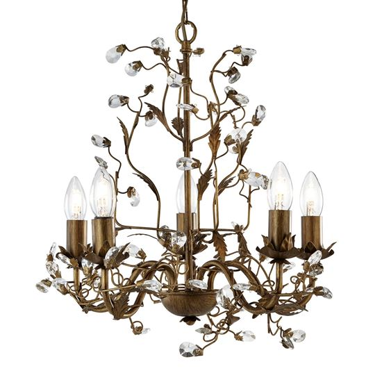 ALMANDITE BROWN GOLD FINISH 5 LIGHT CHANDELIER WITH CRYSTAL DRESSING 2495-5BR