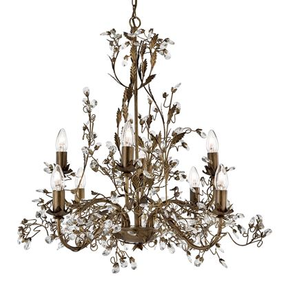 ALMANDITE BROWN, GOLD FINISH, 8 LIGHT CHANDELIER WITH CRYSTAL DRESSING 2498-8BR