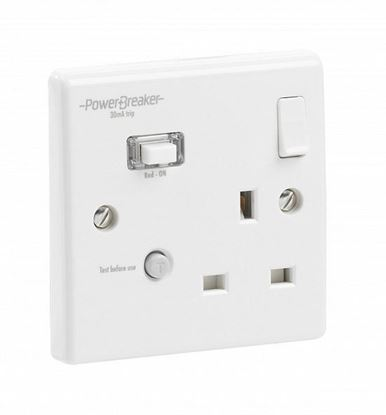Powerbreaker K21WPA-C 1Gang 13amp White RCD Switch Socket K21WPA-C