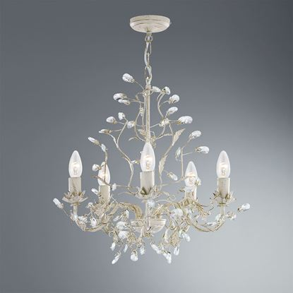 ALMANDITE CREAM GOLD FINISH 5 LIGHT CHANDELIER WITH CRYSTAL DRESSING 2495-5CR