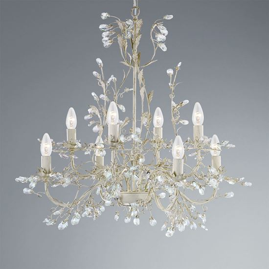 ALMANDITE CREAM GOLD FINISH 8 LIGHT CHANDELIER WITH CRYSTAL DRESSING 2498-8CR