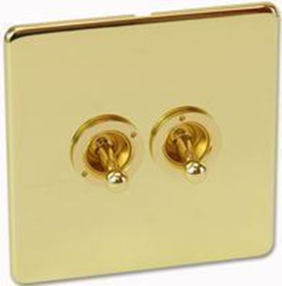 Crabtree Platinum 7T72/PB Polished Brass 2 Gang 2 Way Toggle Switch