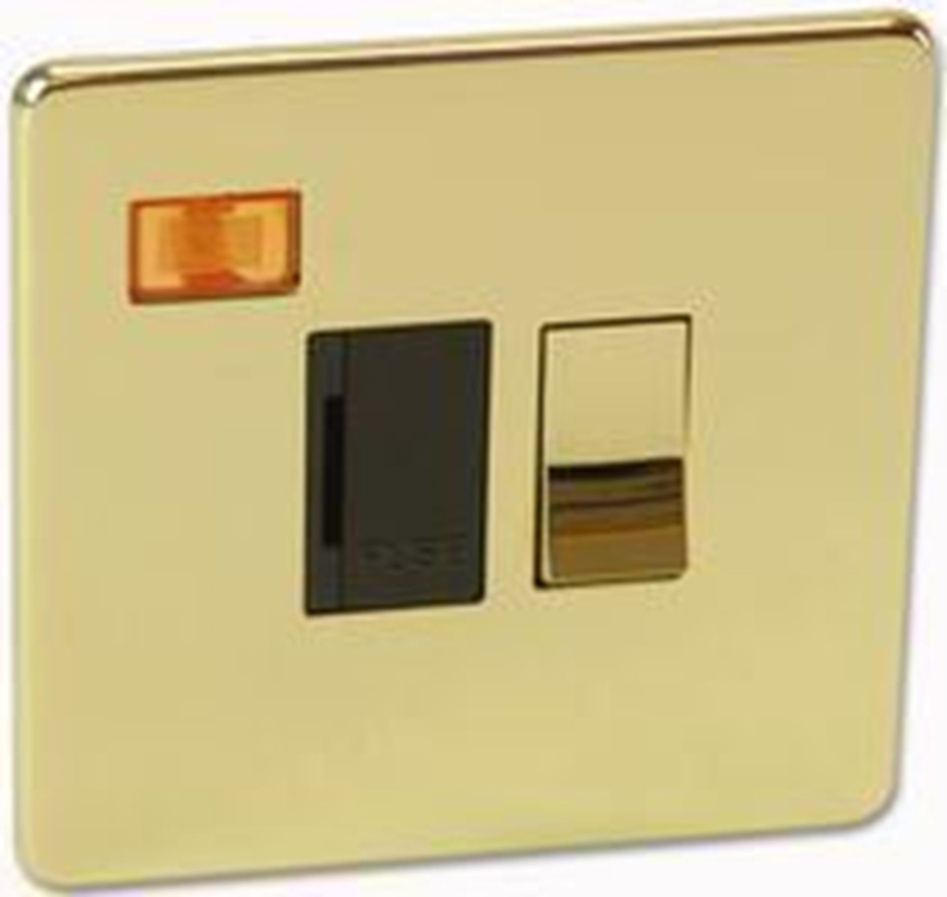 Crabtree Platinum 7832/3PB Polished Brass Fuse Spur with NEON
