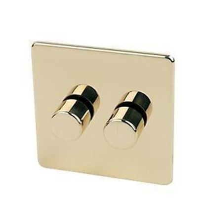 Crabtree Platinum Polished Brass 2 Gang Dimmer Switch 7400/D2PB