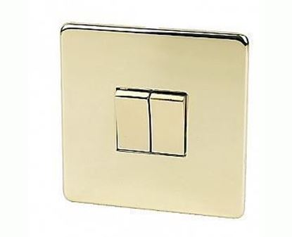 Crabtree Platinum Polished Brass 2 Gang Light Switch 7172/PB