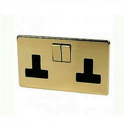 Crabtree Platinum Polished Brass 2 Gang Socket 7316/PB