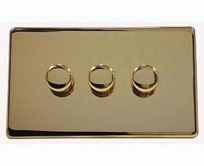 Crabtree Platinum Polished Brass 3 Gang Dimmer Switch 7250/D3PB