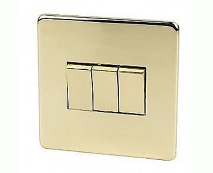 Crabtree Platinum Polished Brass 3 Gang Light Switch 7173/PB