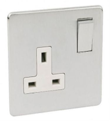 Crabtree Platinum Satin Chrome 1 Gang Socket White Insert 7314/SC