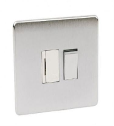 Crabtree Platinum Satin Chrome 13A Switched Fuse Spur White Inserts 7832/SC/WH