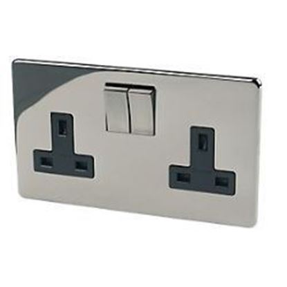 Crabtree Platinum 7316/BKN 2 Gang Switched Socket Black Nickel