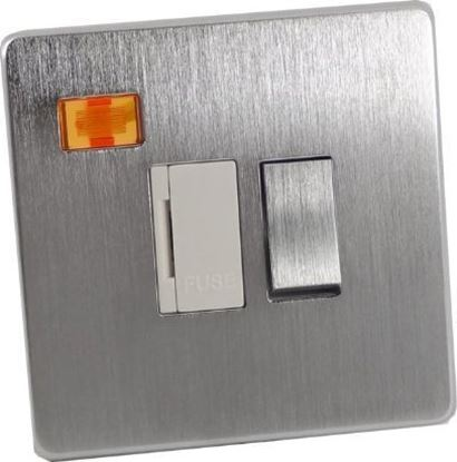 Crabtree Platinum Satin Chrome 13A Switched Fuse Spur with Neon 7832/3SC/WH
