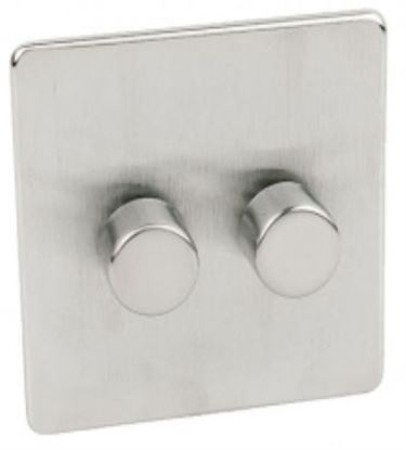 Crabtree Platinum Satin Chrome 2 Gang Dimmer Switch 400w 7400/D2SC
