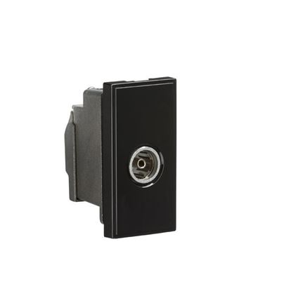 Screened TV Outlet 25 x 50mm - Black NETTVSBK