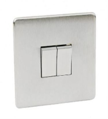 Crabtree Platinum Satin Chrome 2 Gang Light Switch 7172/SC