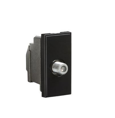 Screened SAT TV Outlet Module 25 x 50mm - Black NETSATSBK