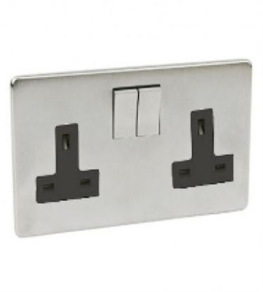 Crabtree Platinum Satin Chrome 2 Gang Socket 7316/SC