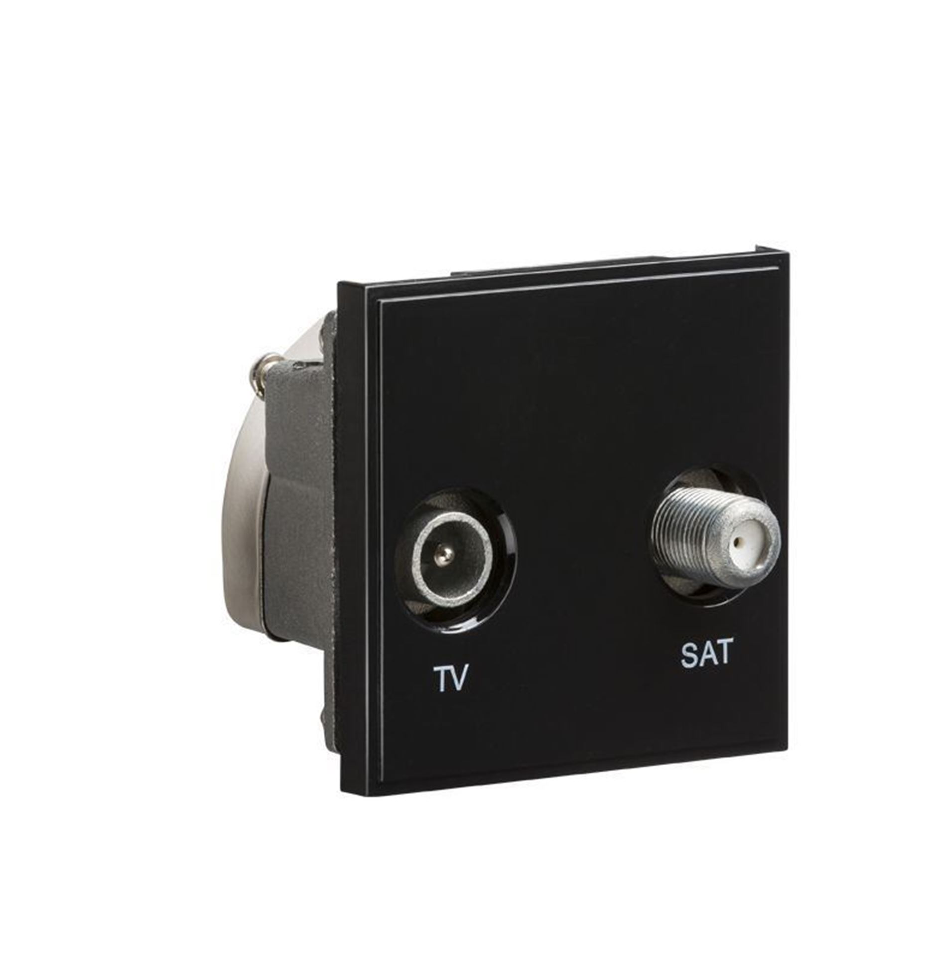 Diplexed TV /SAT TV Outlet Module 50 x 50mm - Black NETDISATBK