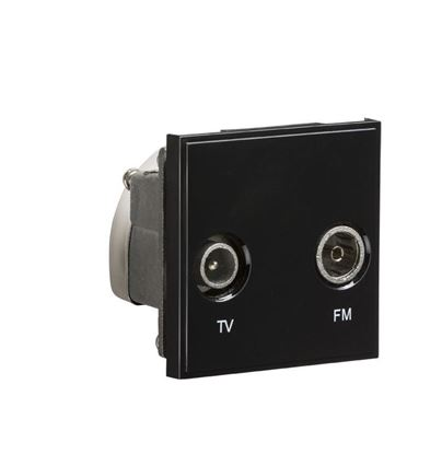 Diplexed TV /FM DAB Outlet Module 50 x 50mm - Black NETDITVBK