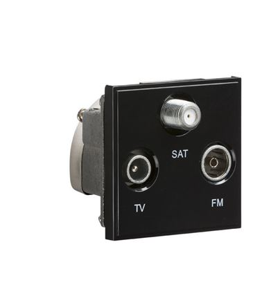 Triplexed TV /FM DAB/ SAT TV Outlet Module 50 x 50mm - Black NETTRIBK