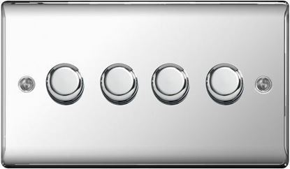 NPC84P POLISHED CHROME 400W 4 GANG 2 WAY PUSH DIMMER