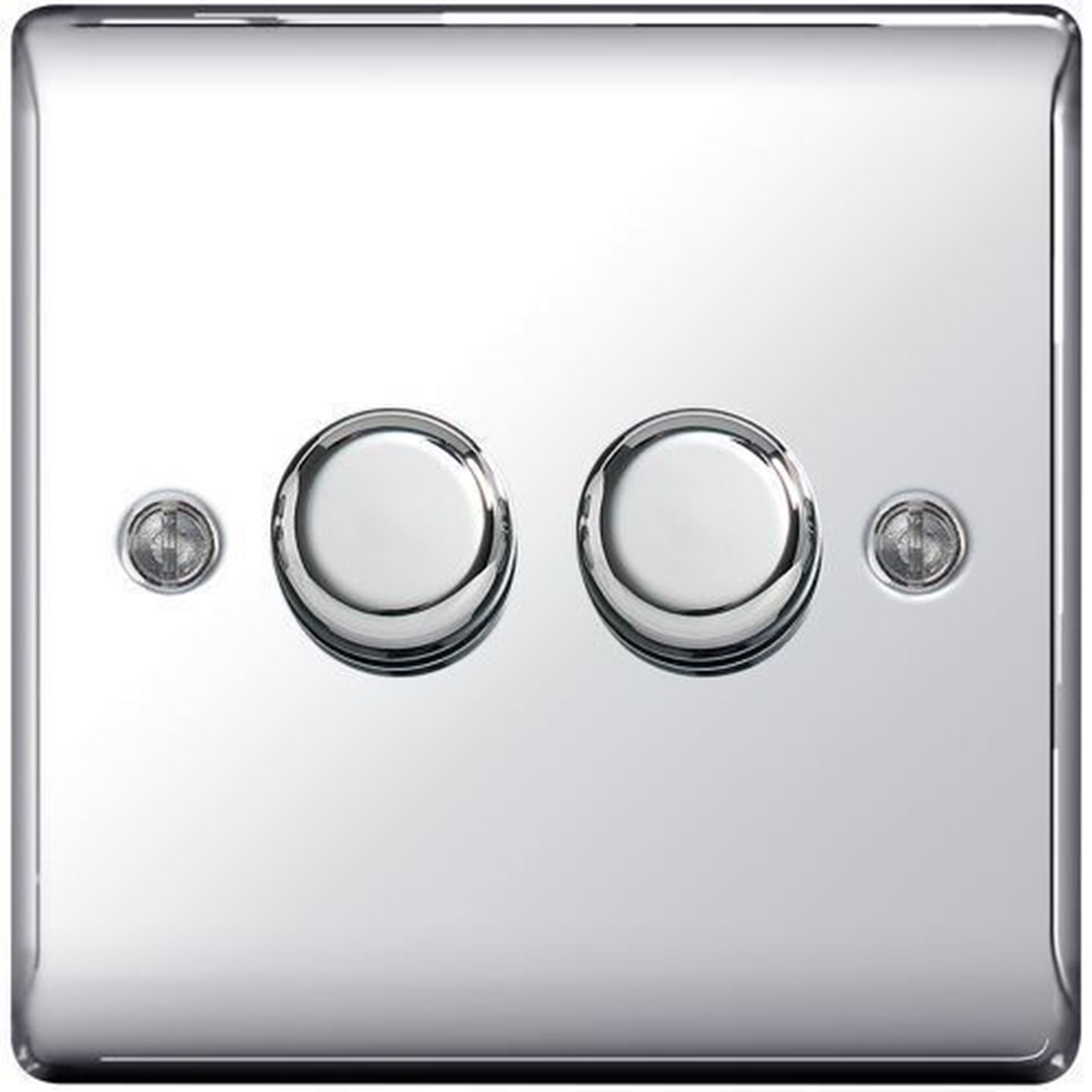 NPC82P POLISHED CHROME 400W 2 GANG 2 WAY PUSH DIMMER