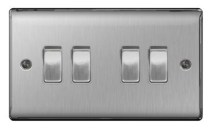NBS44 BRUSHED CHROME 10AX 4 GANG 2 WAY PLATE SWITCH