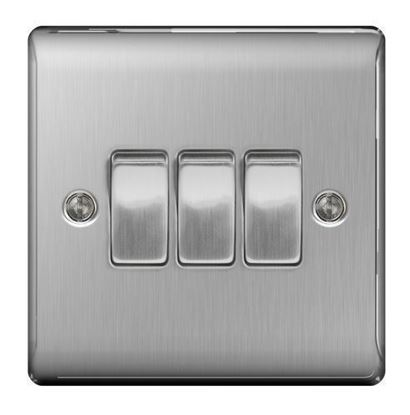 NBS43 BRUSHED STEEL 10X 3 GANAG 2 WAY PLATE SWITCH