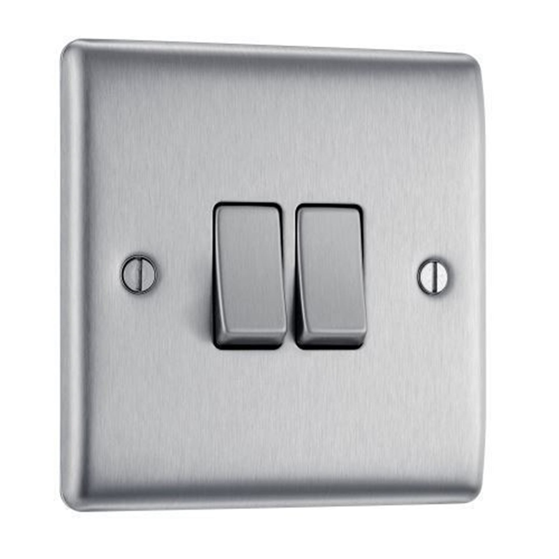 NBS42 BRUSHED CHROME 10X 2 GANG 2 WAY PLATE SWITCH