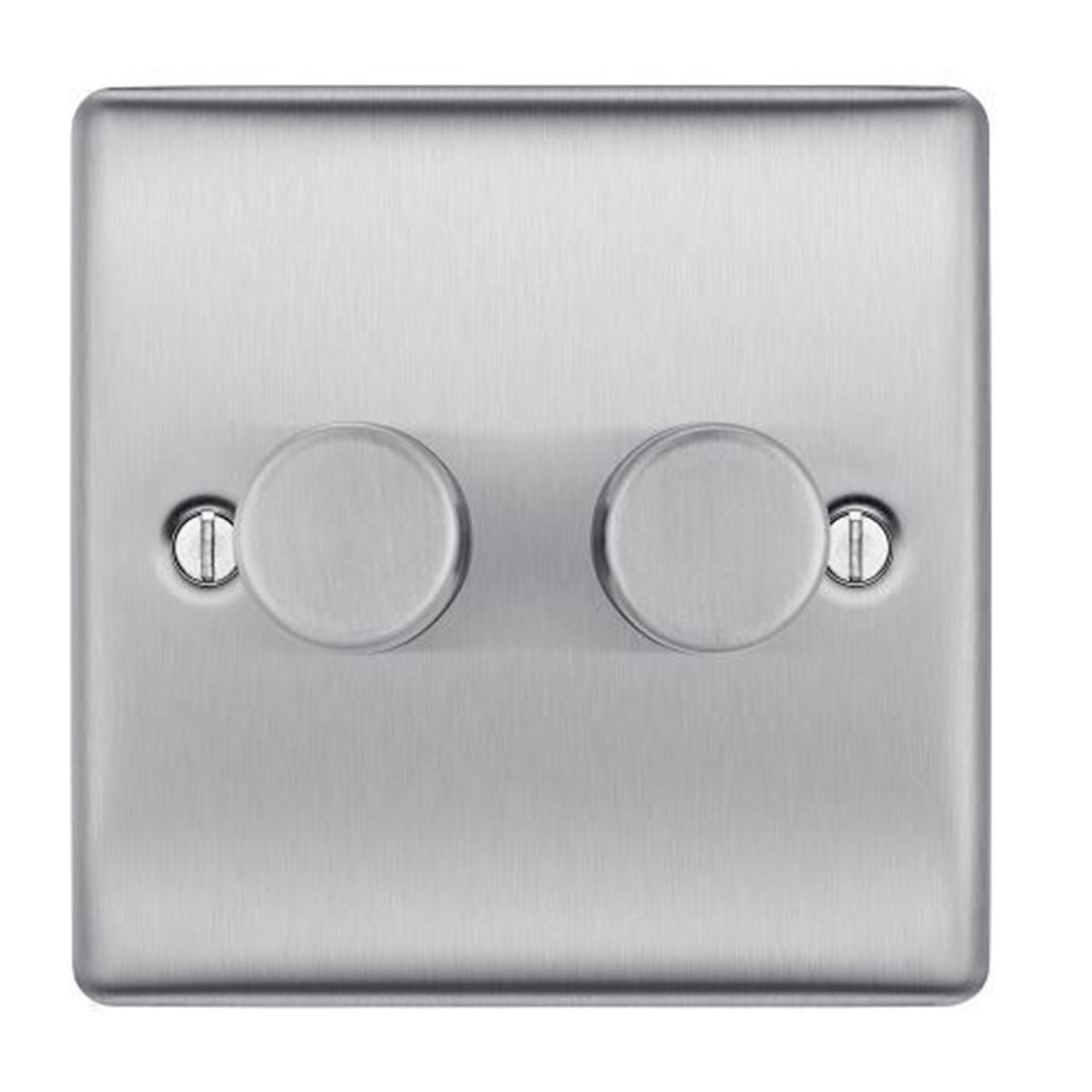 NBS82P BRUSHED STEEL 400W 1 GANG 2 WAY DIMMER