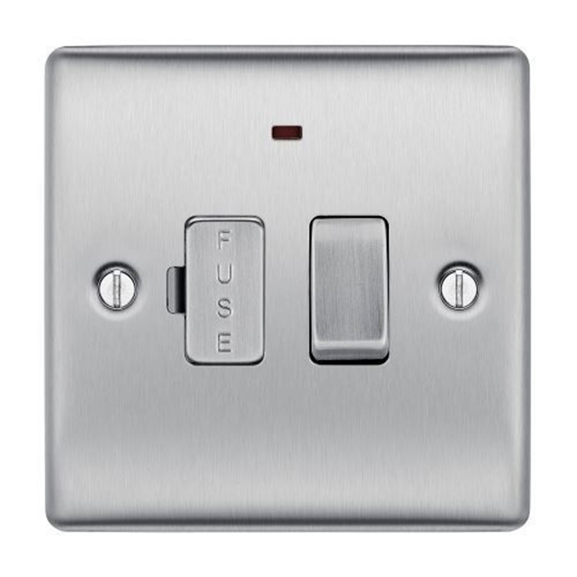 NBS52 BRUSHED CHROME 13A FUSED CONNECTION UNIT SWITCHED WITH POWER INDICATOR