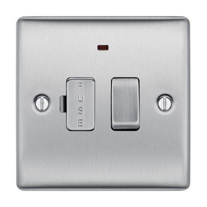 NBS53 BRUSHED CHROME 13A FUSED CONNECTION UNIT SWITCHED WITH POWER INDICATOR FLEX OUTLET