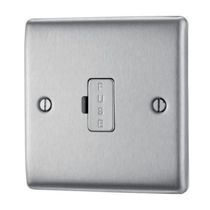 NBS54 BRUSHED STEEL 13A FUSED CONNECTION UNIT UNSWITCHED