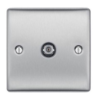 NBS64 BRUSHED CHROME SATELLITE SOCKET 1 GANG