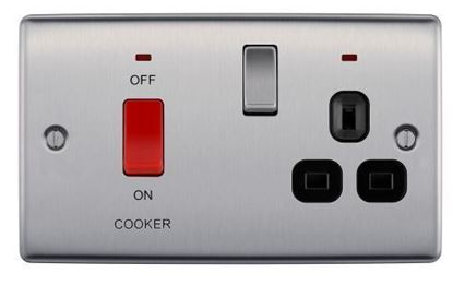 NBS70B BRUSHED CHROME 4A COOKER CONNECTION UNIT SWITCHED SOCKET WITH POWER INDICATOR CLACK SURROUND