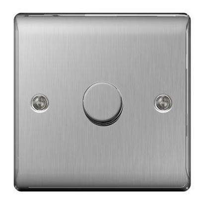 NBS81P BRUSHED CHROME 400W 1 GANG 2 WAY DIMMER