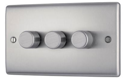 NBS83P BRUSHED CHROME 400W 3 GANG 2 WAY PUSH DIMMER