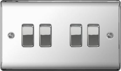 PC44 POLISHED CHROME 10AX 4 GANG 2 WAY PLATE SWITCH