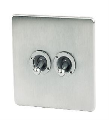 Picture of Crabtree Platinum Satin Chrome 2 Gang Toggle Switch 7T72/SC