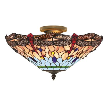 DRAGONFLY ANTIQUE BRASS 3 LIGHT SEMI-FLUSH WITH HAND MADE TIFFANY GLASS 1289-16
