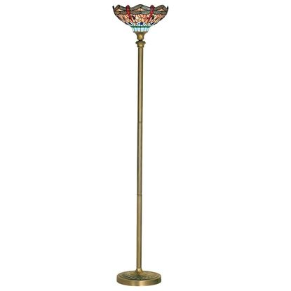 DRAGONFLY ANTIQUE BRASS FLOOR LAMP WITH HAND MADE TIFFANY GLASS 1285