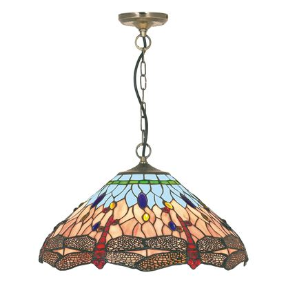 DRAGONFLY ANTIQUE BRASS PENDANT LIGHT WITH HAND MADE TIFFANY GLASS 1283-16