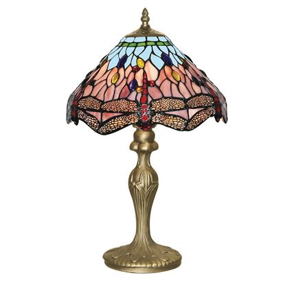 DRAGONFLY ANTIQUE BRASS TABLE LAMP WITH HAND MADE TIFFANY GLASS 1287